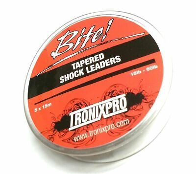 Tronixpro Tapered Shock Leaders - 5 Leaders X 15m, 15lb - 50lbs  • 5.49£