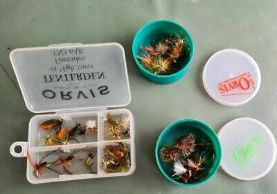 3 Orvis Boxes With Flies As Pictured Good Mixture Including Water Flies • 9.99£