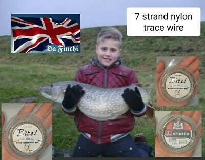 PIKE Or PREDITOR Nylon Coated Trace Wire For Rig Making A Choice Of 30 40 50 Lb  • 4.49£