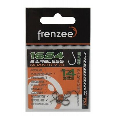10 X Frenzee 1624 Barbless Eyed Hooks ALL SIZES 100 Hooks SALE PAY ONE POST • 4.99£