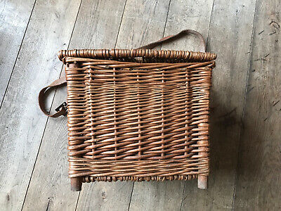 Vintage Old Wicker Fishing Creel Basket Seat Stool Storage Box Small • 40£