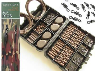 Brown Fishing Tackle Box Set 4 Carp Weights Safety Clips Hooks Swivels Hair Rigs • 15.99£