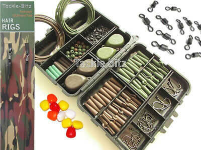 Fishing Tackle Box 4 Carp Weights Safety Clips Hooks Swivels Hair Rigs CHOICES • 14.95£