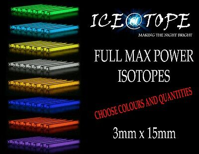 ICEATOPE Size 3MM X 15MM ISOTOPES BETALIGHT Trigalight GTLS Vial CARP FISHING • 9.89£