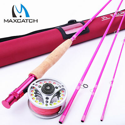 Maxcatch Hot Pink Fly Rod And Reel Combo Kit 5WT 9FT YOUTH FLY FISHING Fly Line • 66.05£