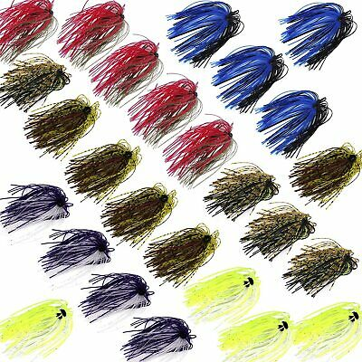 12/20pcs Fishing Rubber Jig Skirts Mixed Color 50 Strands Silicone Skirts Lure • 11.35£