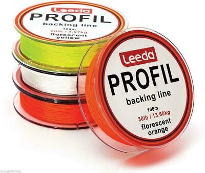 Leeda Profil Fly Line Backing Line 100m 20LB/30LB 3 Colours Trout/Salmon Fishing • 4.74£