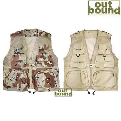 Chocolate Chip Camo Multi Pocket Outdoor MESH Hunting/Fishing Vest Waistcoat • 14.95£