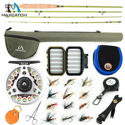 Maxcatch 1/2/3WT Fly Fishing Rod Combo, Rod, Reel, Line Outfit For Small Stream • 61.62£