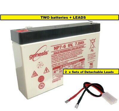 2 X 6V 7ah  BAIT BOAT BATTERIES & SLIP-ON LEADS For MICROCAT / TECHNICAT • 26.95£