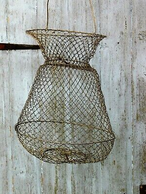 Collapsible Vintage French Wire Fishing Creel Keep Net Eggs Fruit Veg Live Bait  • 34.99£