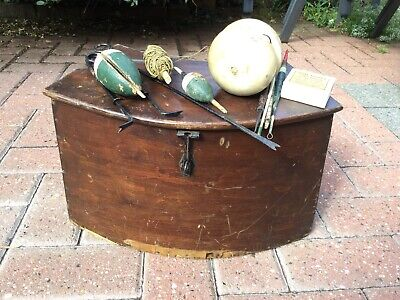 Vintage Demi-lume Wooden Fishing Creel & Contents. • 99.99£