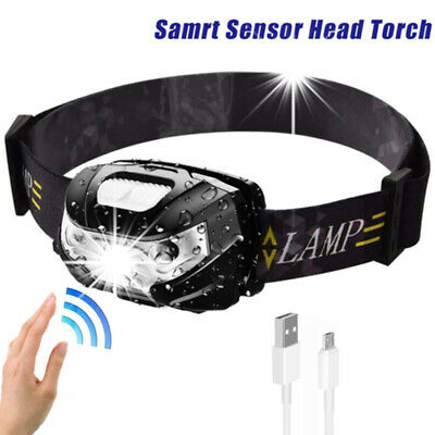Rechargeable Sensor Head Torch Light Travel Outdoor Hiking Fishing LED Headlamp • 7.89£