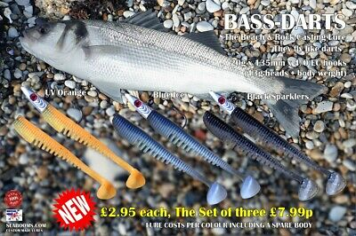 Bass Darts Sea Fishing Lures 4/0 Hooks Beach & Rock Casting Soft Silicone Lure • 7.99£