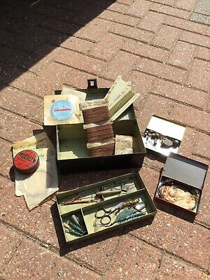 An Old Vintage Japanned Fishing Lure Tin With Tackle. • 34.99£