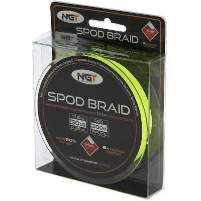 NGT Teflon Coated SPOD Braid - 30lb (300m) Of Fluro Yellow Floating Braid • 24.95£