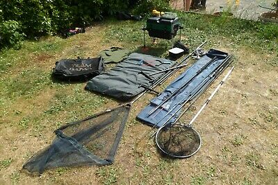 Complete Fishing Tackle Set Up Lot Rods Reels Nets Tacklebox/seat Pole Carp Etc • 135£