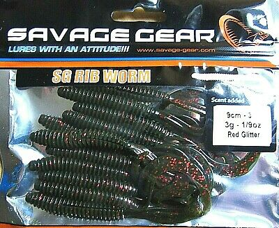 SAVAGE GEAR SG RIB WORM LURES 9cm 3g RED GLITTER CURL TAILS BASS SEA FISHING • 3.85£