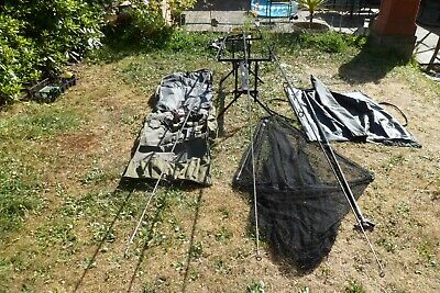 Carp Fishing Set Up Lot 3 Matching Rods, 3 Reels Safety Weigh Bag Pod Rod Bag • 165£