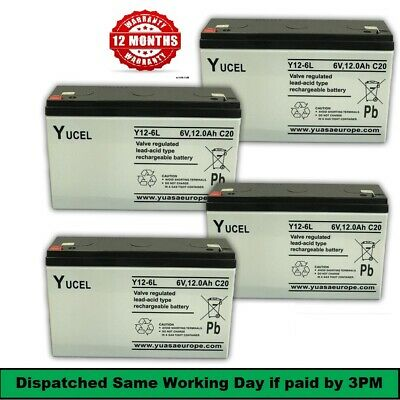 4 X YUCEL 6V 12AH BAIT BOAT BATTERIES For MICROCAT, TECHNICAT 45% More Bait Time • 49.50£