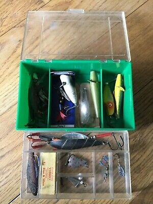 Group Of Old Retro Fishing Lures & Box. • 19.99£
