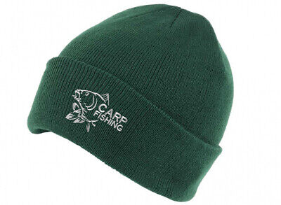 Carp Fishing Clothing Gifts For Men Embroidered Beanie Hat. Green. • 9.99£