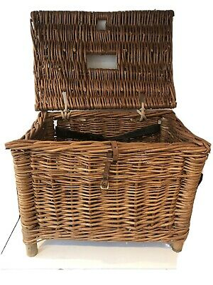 Vintage Woven Wicker Cane Fishing Creel Storage Basket Seat (B2) • 28£