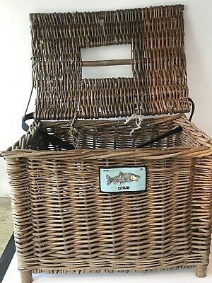 Vintage Wicker Fishing Basket Chest Seat  • 26£