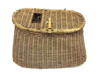 Vintage Used Wicker Woven Fly Fishing Creel Basket With Straps • 63.59£