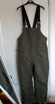 Fishermans Olive Green Washable Padded Bib And Brace Adjustable Trousers Size L • 5.50£