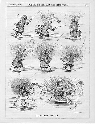 Collection Vintage Punch FISHING Cartoons • 8£