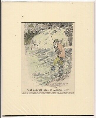 Vintage 1920 Punch  FISHING Cartoon Ready For Framing • 6£