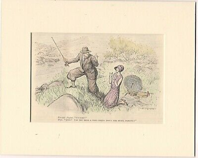 Vintage 1929 Punch  FISHING Cartoon Ready For Framing • 6£