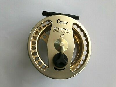 ORVIS BATTENKILL LARGE ARBOUR GOLD ANODISED REEL LAII (3 3/4 ), Good Condition • 110£