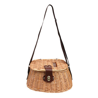 Wicker Fish Basket Fisherman Traps Cage Case With Adjustable Shoulder Strap • 35.34£