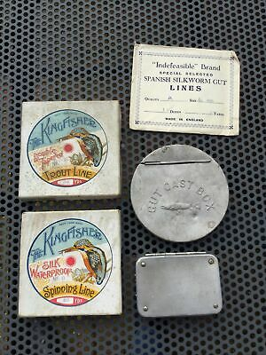 2 Vintage Kingfisher Silk Fly Line Boxes, Contents Etc. • 29.99£