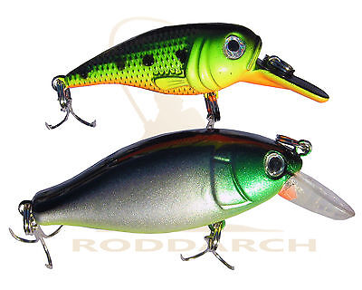 2 X FISHING PLUG RATTLER PIKE PERCH SPINNER SPOON LURE SET DEEP / SHALLOW DIVERS • 4.49£