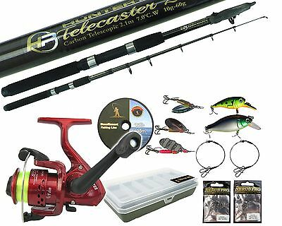 PIKE FISHING KIT SPINNING SET 8ft ROD REEL TACKLE BOX TRACES SPINNERS PLUGS LINE • 25.99£