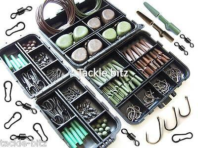 Carp Fishing Terminal End Tackle Box Set Weights Safety Clips For Hair Chod Rigs • 18.99£
