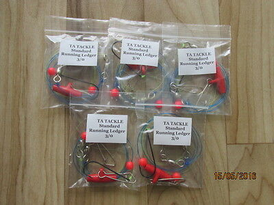 5 X STANDARD Running Ledger Sea Fishing  Rigs 3/0  Hook Good 4 Cod Bass   • 4.95£