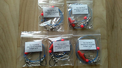 5x STANDARD Running Ledger Sea Fishing  Rigs 4/0  Hook Good 4 Cod Bass   • 4.95£