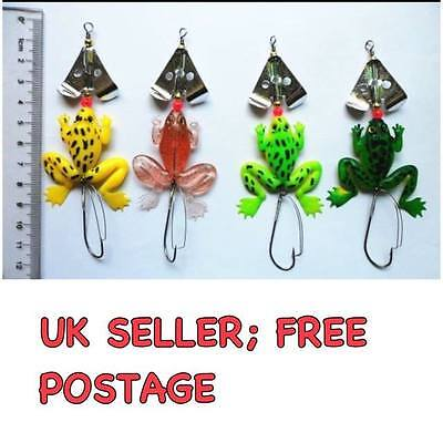 Frog Jelly Fishing Lure  (set Of 4)  Spinner Trout Pike  Perch Bass Bait  Tackle • 5.75£