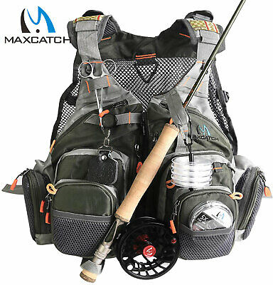 Maxcatch Fly Fishing Mesh Vest Adjustable Mutil-Pocket Outdoor Universal Size • 30.01£