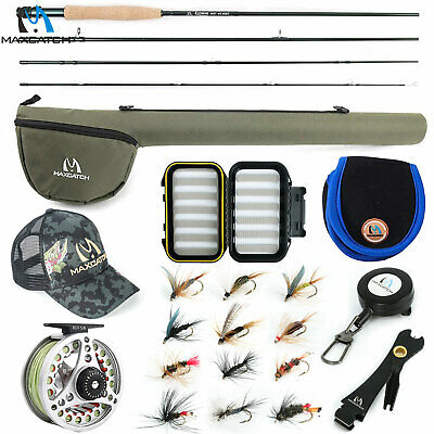 Maxcatch Extreme 3/4/5/6/7/8WT Fly Fishing Rod Combo, Fly Reel,Line,Flies Outfit • 57.82£