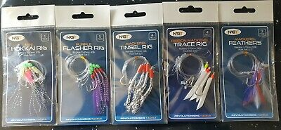 5 X MIXED  Packs Bass Mackerel Feathers Lures Sea Fishing Rigs NGT • 5.95£