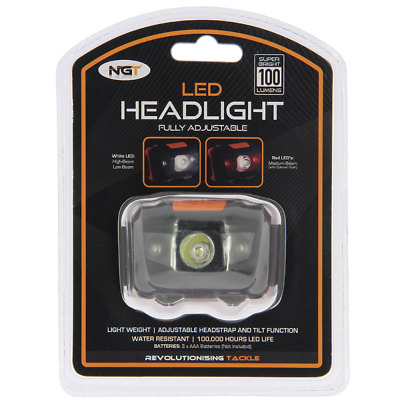 NGT LED HEAD LIGHT TORCH LAMP FISHING HUNTING LIGHT WHITE AND RED 100 Lumens • 6.95£