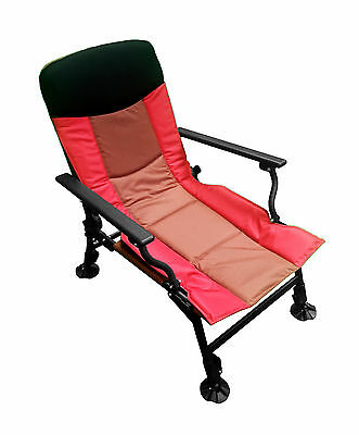 DELUXE FOLDING FISHING RECLINER CHAIR Adjustable Legs + Back Camping Boat (022D) • 47.99£