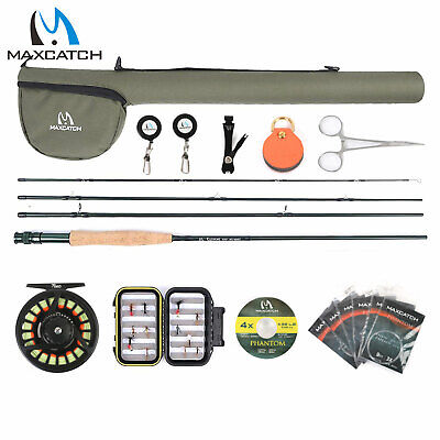 Maxcatch 5/6/7/8wt Extreme Fly Fishing Rod And Reel Combo, Fly Line, Box, Flies  • 80.65£