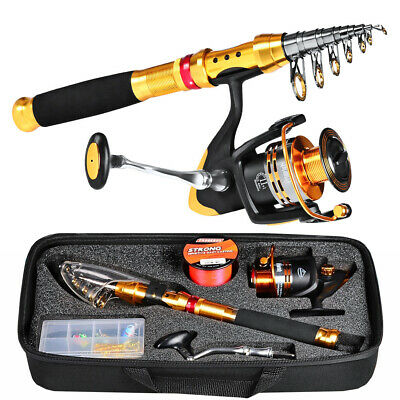Complete Fishing Kit Telescopic Sea Rod Spinning Reel Nylon Line Lure Tackle Set • 54.68£