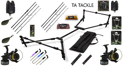Full Carp Fishing Set Up With 2 Rods 2 Reels Bite Alarms Baiting Needles +++  • 139.99£